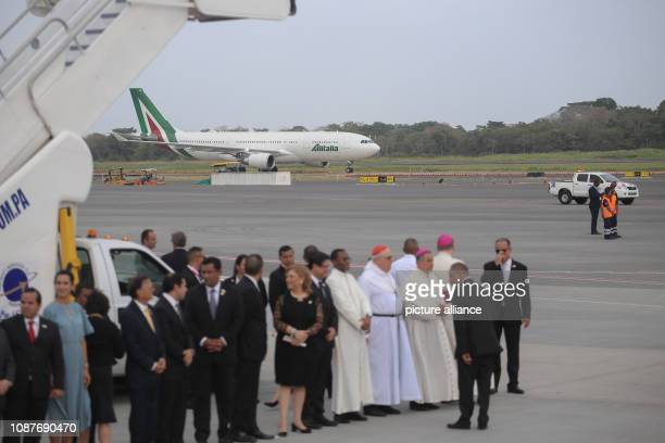 The plane of the airline Alitalia with Pope Francis on board lands at the airport Tocumen The 34th World Youth Day will be celebrated until Sunday in...
