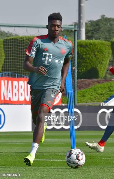 Soccer Bundesliga Alphonso Davies of FC Bayern Munich the Bundesliga soccer team runs across the pitch during a morning practice session FC Bayern...