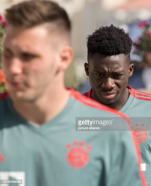 Soccer Bundesliga Niklas Süle and Alphonso Davies from the Bundesliga soccer team FC Bayern Munich will run to the training ground before the start...