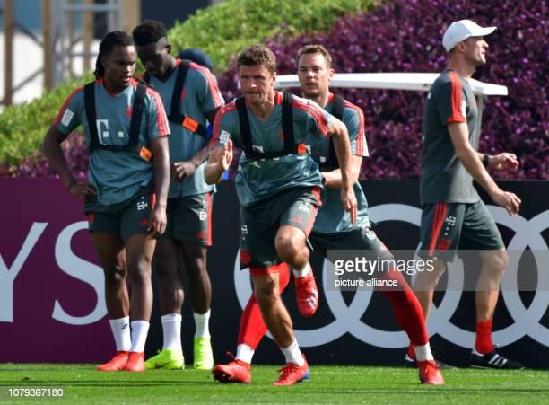Soccer Bundesliga Renato Sanches Alphonso Davies Thomas Müller and goalkeeper Manuel Neuer of the Bundesliga club FC Bayern Munich take part in a...