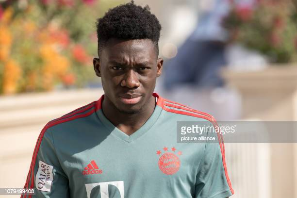 Soccer Bundesliga training camp FC Bayern Munich Alphonso Davies will go to the training area in the morning before the start of the practice session...