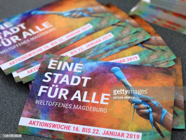 19 January 2019 SaxonyAnhalt Magdeburg A city for all is written on a flyer at the edge of an event of the initiative Weltoffenes Magdeburg With...