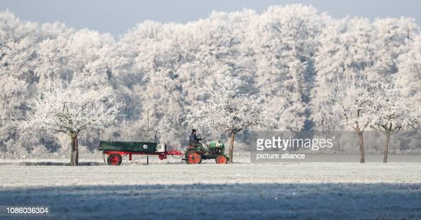 January 2019, Saxony-Anhalt, Wörlitz: A man drives on an older open tractor through an icy landscape near Wörlitz. Photo: Jan...