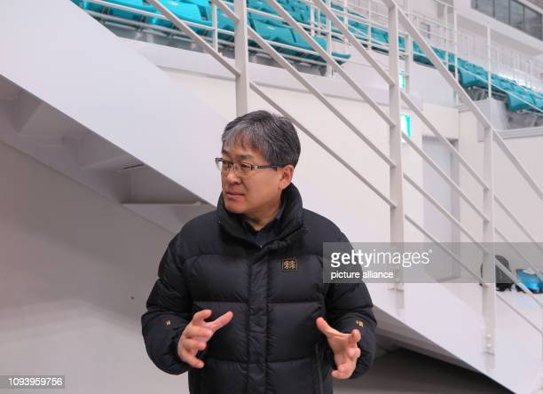 Choi Jong Won the manager for the Gangneung ice hockey arena and other venues of the 2018 Winter Olympics in Pyeongchang gesticulated during an...