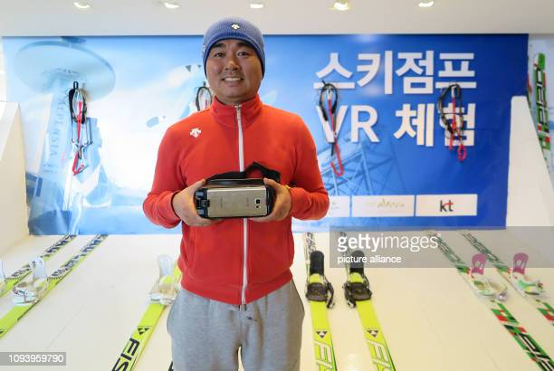 Kim Bong Jin ski instructor and manager of a souvenir shop and VR ski jump simulator is in his shop at the ski jump for the 2018 Olympic Winter Games...