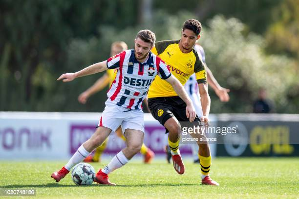 Soccer Test matches BVB Winter Training Camp 2019 Borussia Dortmund Willem II Tilburg in the 'Dama del Noche' Tilburgs Dan Crowley and Dortmund's...