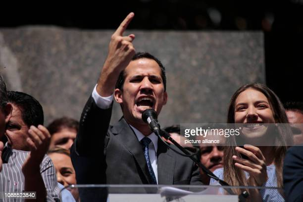 Juan Guaido who has appointed himself interim president speaks to supporters in the Venezuelan capital Guaido who openly challenged Head of State...