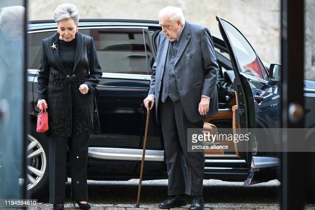 January 2020, Baden-Wuerttemberg, Altshausen: Carl Duke of Württemberg and his wife, Diane Francoise Maria da Gloria Duchess of Württemberg, go to...