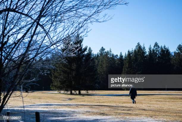 January 2020, Bavaria, Krün: A woman walks across a pasture in the sunshine. Photo: Lino Mirgeler/dpa
