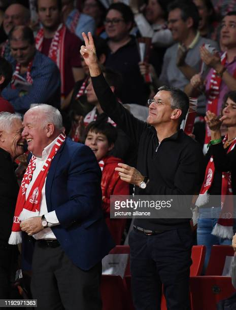 Basketball Euroleague FC Bayern Munich ZSKA Moscow main round 18th matchday Herbert Hainer President FC Bayern cheers Moscow wins 77 to 84 Photo...