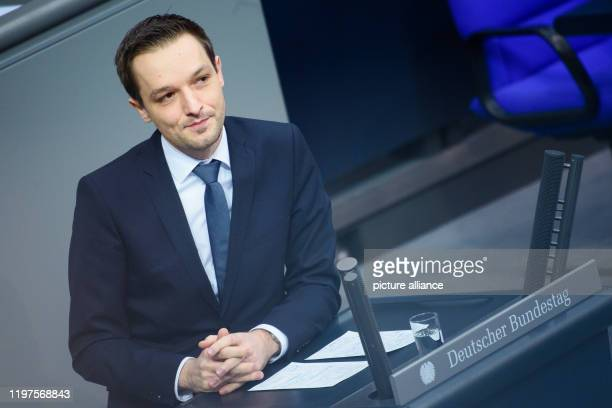 Benjamin Strasser member of the Bundestag speaks during a session of the German Bundestag in the plenary hall of the Reichstag building One of the...