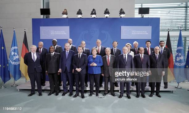 January 2020, Berlin: Chancellor Angela Merkel will be in the Federal Chancellery at the beginning of the Libya Conference with the participants from...