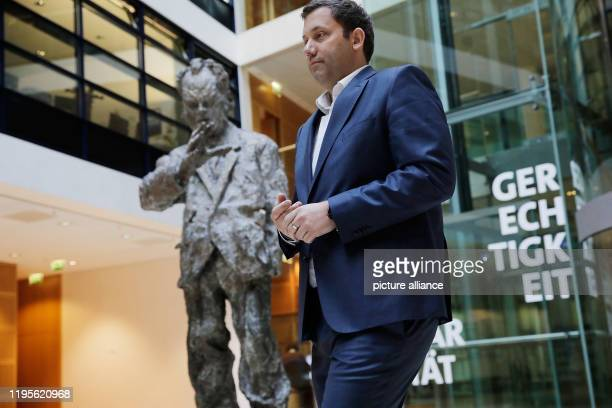 January 2020, Berlin: Lars Klingbeil, SPD Secretary-General, passes a statue of Willy- Brand on his way to a press statement. He reported on the...