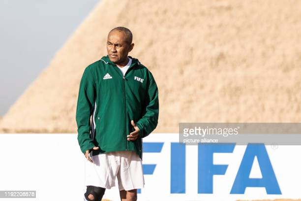 January 2020, Egypt, Giza: CAFPresident Ahmad Ahmad is pictured during the CAF and FIFA Legends soccer match at the Giza Pyramids complex, ahead of...