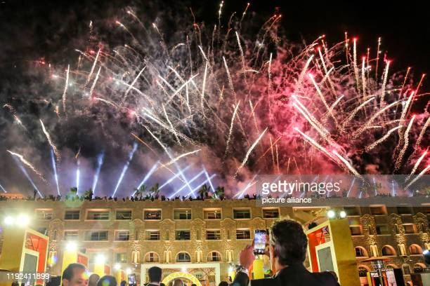 Fireworks illuminate the sky during the 2019 CAF Awards ceremony at Albatros Citadel Photo Ibrahim Youssef/dpa