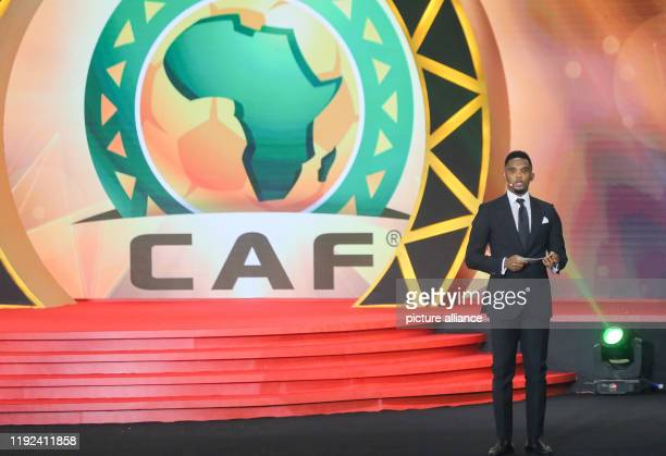 Former Cameroonian footballer Samuel Eto'o presents on stage during the 2019 CAF Awards ceremony at Albatros Citadel Photo Ibrahim Youssef/dpa
