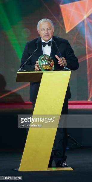 President of the Egyptian Football Association Hany Abo Rida speaks after receiving the Federation of the Year award during the 2019 CAF Awards...