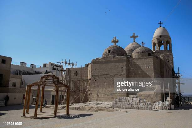 January 2020, Egypt, Minya: A general view of the Virgin Mary church at Gabal et-Tayr Monastery, as the renovation process continues for all the...