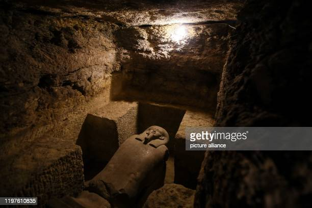 January 2020, Egypt, Minya: Asarcophagus is seen inside a communal tomb, one of three newly discovered tombs of the high priests of ancient Egyptian...