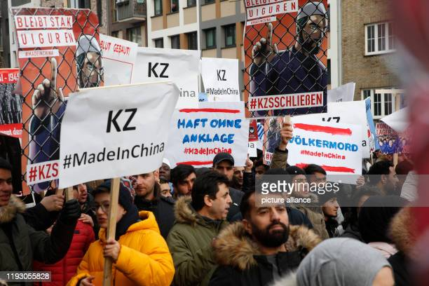 January 2020, Hamburg: People demonstrate against the oppression of the Uighur Muslim minority in China. The Hamburg Office for the Protection of the...