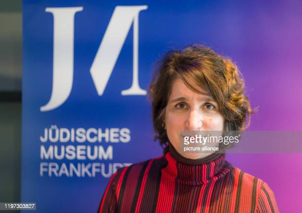 January 2020, Hessen, Frankfurt/M.: Mirjam Wenzel, director of the Jewish Museum, stands in front of a logo of the institution before the start of a...