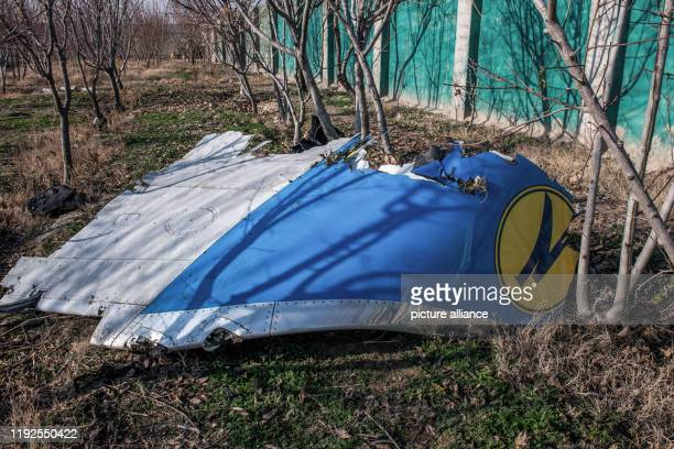 January 2020, Iran, Shahedshahr: Part of the fuselage is at the crash site. A Ukrainian passenger plane has crashed near the Imam Khomeini airport of...