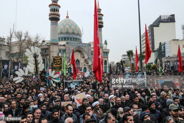 January 2020, Iran, Tehran: Iranians take part in a mourning rally at Felestin Square in honour of Qassem Soleimani, commander of the elite Quds...