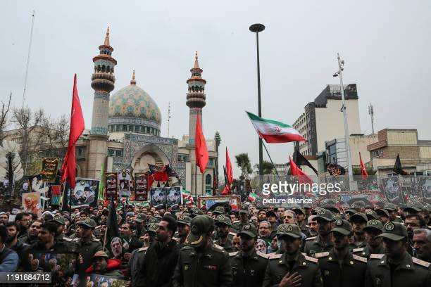 January 2020, Iran, Tehran: Members of the Iranian military take part in a mourning rally at Felestin Square in honour of Qassem Soleimani, commander...