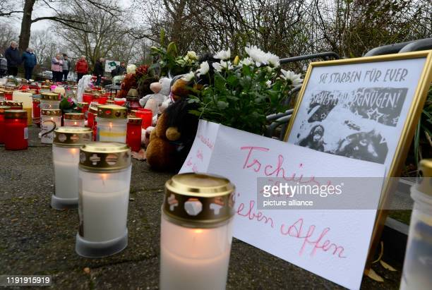 05 January 2020 North RhineWestphalia Krefeld A sea of candles and flowers lies in front of the entrance of the zoo After the devastating fire in the...