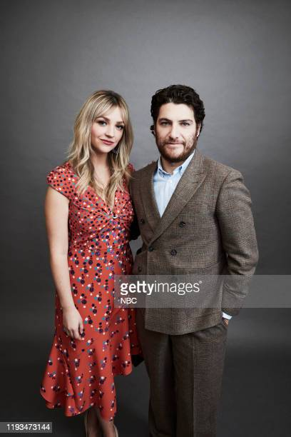 EVENTS January 2020 Press Tour Portrait Studio Pictured Abby Elliot Adam Pally Indebted