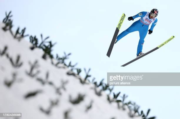 January 2021, Austria, Bischofshofen: Nordic skiing/ski jumping: World Cup, Four Hills Tournament, large hill, men, qualification. Norway's Robert...
