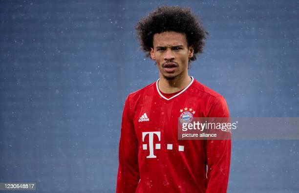 January 2021, Bavaria, Munich: Football: Bundesliga, Bayern Munich - SC Freiburg, Matchday 16 at Allianz Arena. Leroy Sane of Munich is on the pitch....
