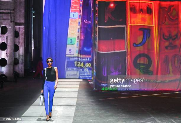 January 2021, Berlin: A model shows fashion at the About You show at the About You Fashion Week production at Kraftwerk in Köpenicker Straße. The...
