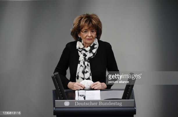 January 2021, Berlin: Charlotte Knobloch, President of the Jewish Community of Munich and Upper Bavaria, gives the commemorative speech at the German...