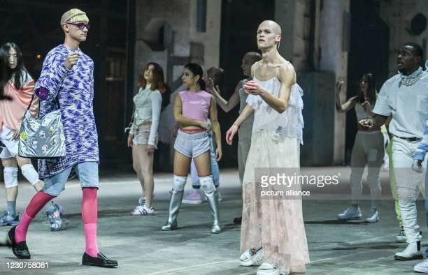 January 2021, Berlin: Models and dancers show fashion at the About You Show at the About You Fashion Week production at Kraftwerk in Köpenicker...