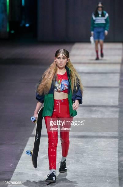 January 2021, Berlin: Models show fashion at the About You Show at the About You Fashion Week production at Kraftwerk in Köpenicker Straße. The...