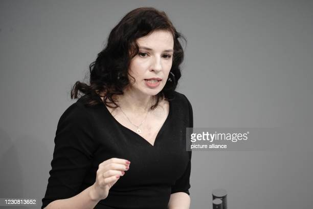 January 2021, Berlin: Publicist Marina Weisband holds the commemorative speech at the German Bundestag's hour of remembrance on the occasion of the...