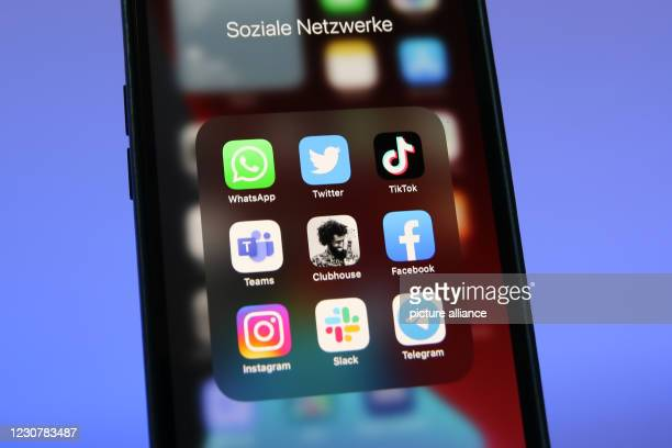 January 2021, Berlin: The logos of social media platforms WhatsApp , Twitter, TikTok, Microsoft Teams, Clubhouse, Facebook, Instagram, Slack and...