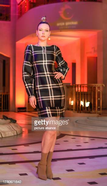 January 2021, Berlin: Victoria Jancke after the fashion show by Anja Gockel of her fall/winter season 2021/2022 at Berlin Fashion Week at Hotel...