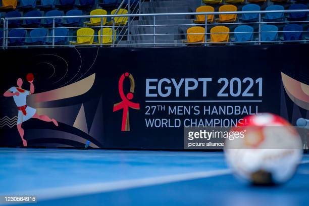 """January 2021, Egypt, Kairo: Branding in World Cup look in the """"Hassan Moustafa Sports Hall"""". The German national handball team will hold its first..."""