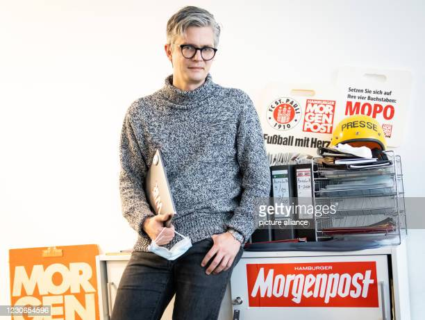 "January 2021, Hamburg: Arist von Harpe, publisher of the newspaper ""Hamburger Morgenpost"", stands in the editorial office during a photo session...."