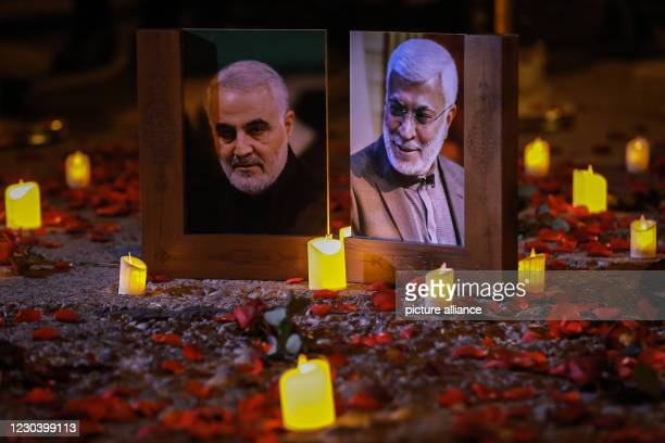 January 2021, Iraq, Baghdad: Iraqis commemorate the one-year anniversary of the deaths of Iranian military commander and head of it's Quds Forces,...