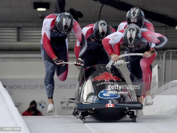 January 2021, North Rhine-Westphalia, Winterberg: Bobsleigh: World Cup, four-man bobsleigh, men, 1st run: Pilot Justin Kripps with Ryan Sommer, Cam...