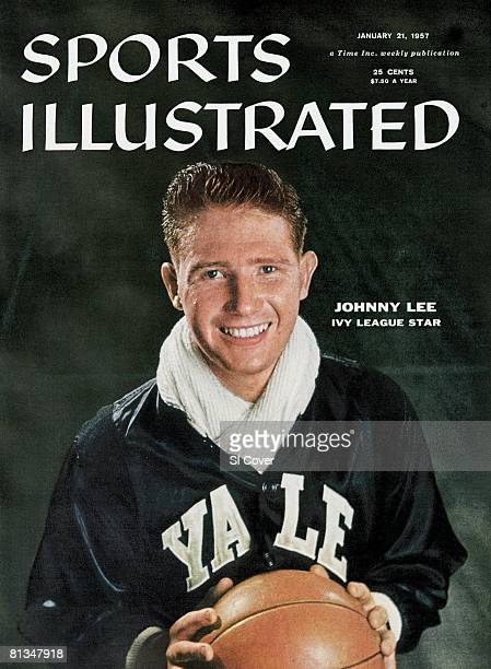 January 21 1957 Sports Illustrated via Getty Images Cover College Basketball Closeup portrait of Yale Johnny Lee after practice at Payne Whitney...