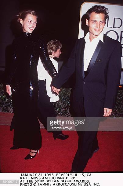January 21 1995 Beverly Hills Ca Johnny Depp And Kate Moss At The 52Nd Golden Globe Awrards