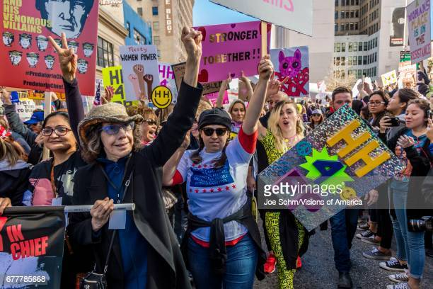 January 21 Los Angeles Ca Lily Tomlin And Miley Cyrus Participate In Women's March000 Activists Protesting Donald J Trump In Nation's Largest March...