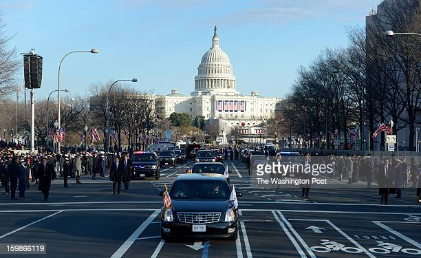 January 21: The Vice Presidential motorcade with Joe Biden and his wife Dr. Jill Biden, during the Inaugural Parade on January 21, 2013 in...