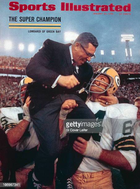 January 22 1968 Sports Illustrated via Getty Images Cover Football Super Bowl II Green Bay Packers coach Vince Lombardi victorious getting carried...