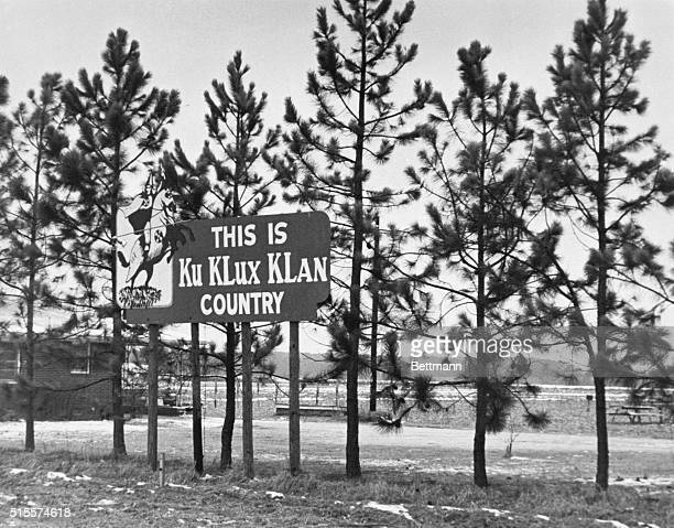 January 22, 1971-Road Sign---Smithfield, North Carolina: Contrary to what many people believe, the KU Klux Klan still makes its mark in parts of the...