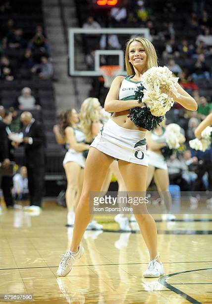 Oregon cheerleaders during the Oregon Ducks game versus the USC Trojans at Matthew Knight Arena in Eugene OR